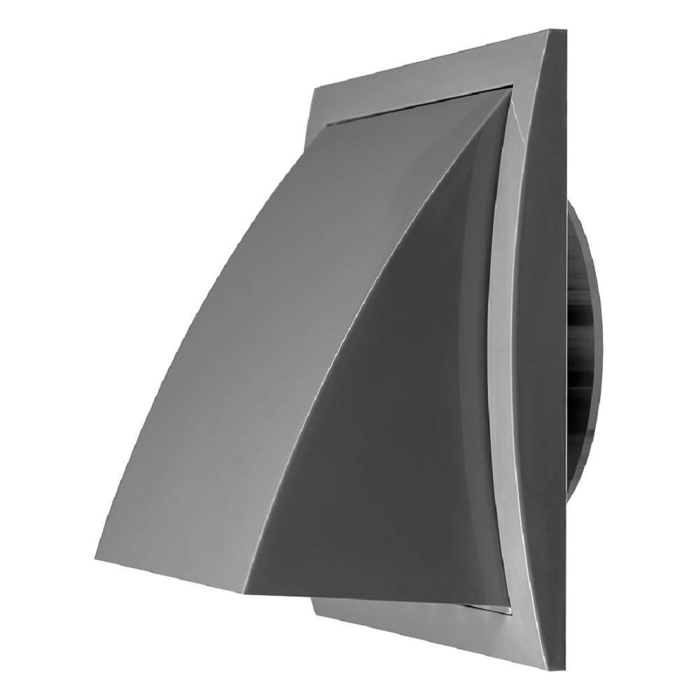 Grille da/ération en plastique gris /Ø 125 mm avec clapet anti-retour en plastique 190 x 190 mm avec raccord /Ø 125 mm
