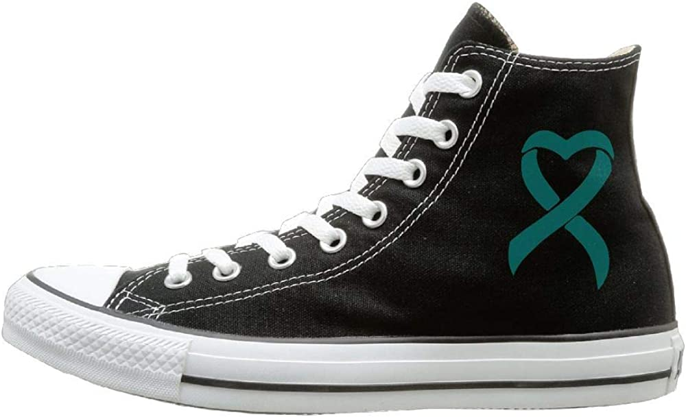 Amazon Com Womens Mens Custom High Top Lace Up Canvas Shoe Ovarian Cancer Ribbon Canvas Sneaker For Boys Girls Clothing