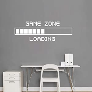 """Vinyl Wall Decal Game Zone Loading Wall Sticker for Teens Boys Bedroom Home Decor Gaming Wall Decal Gamer Decoration Wall Stickers AY1010 (17X48"""", White)"""