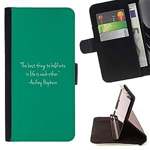 """For Samsung Galaxy S6 Active G890A,S-type Citar Texto Audrey Vida motivación"""" - Dibujo PU billetera de cuero Funda Case Caso de la piel de la bolsa protectora"""