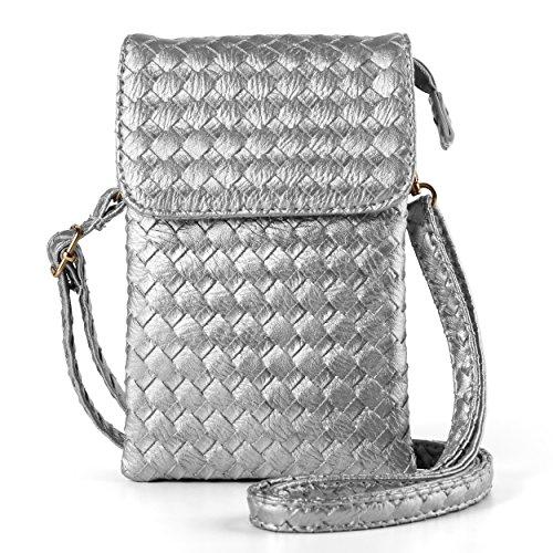 Silver Nokia Pouch - Women's Braid PU Leather Crossbody Shoulder Bag Wallet Pouch for Samsung Galaxy S9+ S9 S8+ S8/Note 8/A5 A7 J5 J7/Nokia 7 Plus 5 6 8/HTC Desire 12/U11 EYEs/U11+ (Silver)