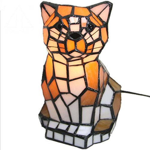 Tiffany Style Desk Lamp, Stained Glass Cat Design Desk Lamp, LED Creative Personality Bedroom Bedside Living Room Night Light (Without Light (Stained Glass Night Light Patterns)
