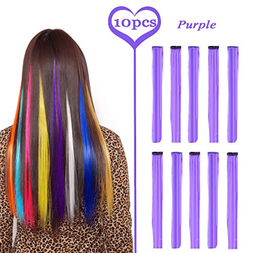 BURHAIR 22 Inch Colored Highlights Straight Hair Clip Extensions Synthetic Hairpieces for Halloween, Party Purple Colors 10 Pieces Extensions