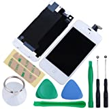 Replacement Full Set Front LCD Display & Touch Screen Digitizer Assembly With Home Button + Back Cover Housing + 8pcs Repair Opening Tools Kit Compatible For Verizon/Sprint iPhone 4 CDMA - White