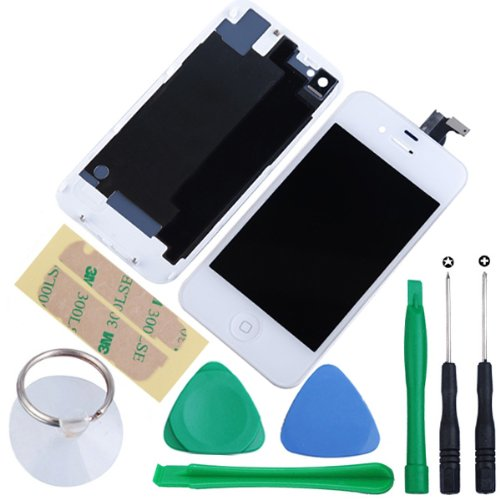 Generic Touch Screen Digitizer Glass With Flex Ribbon Cable & LCD Display Assembly + Back Battery Cover + Home Button for iPhone 4 GSM(AT&T/T-Mobile only, NOT fits for CDMA Verizon/Sprint) with Free Repair Opening Tools Kits (White)