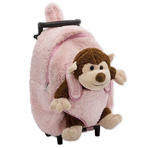 (Pink Monkey Plush Roller Backpack)