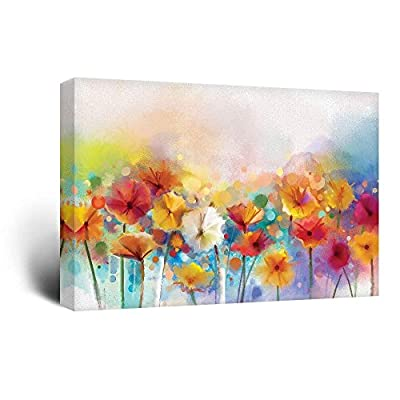 Canvas Wall Art - Watercolor Style Various Colord Flowers - Giclee Print Gallery Wrap Modern Home Art Ready to Hang - 16x24 inches