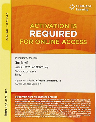 Premium Web Site  4 Terms  24 Months  Printed Access Card For Tufts Jarauschs Sur Le Vif  Niveau Intermediaire