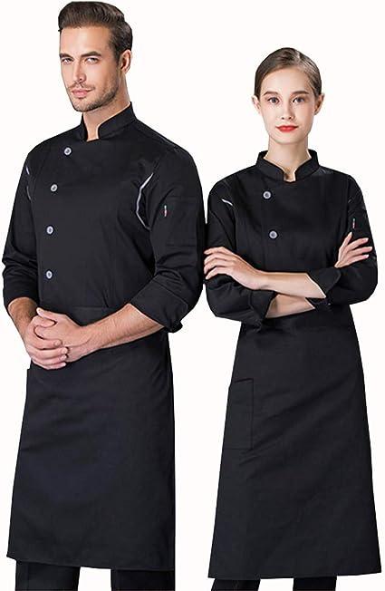 Casaca Cocina Unisex Uniforme Bar Restaurante De Chef Cocinero Bar Restaurante Mangas Largas De Un Solo Pecho Algodón Poliéster Cómodo Adecuado Para Panaderías De Restaurantes De Hoteles,Negro,XXL: Amazon.es: Hogar