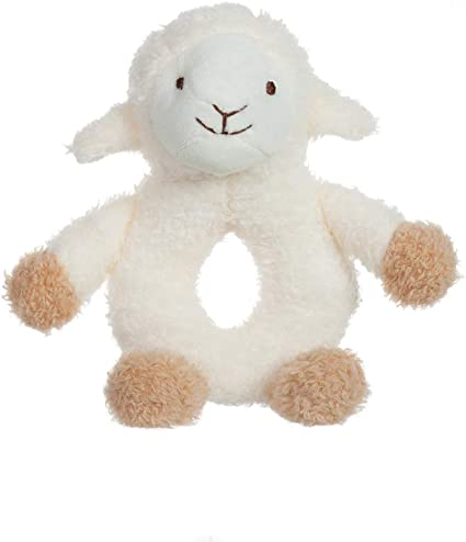 Beige Bunny, 6 Inches Apricot Lamb Baby Beige Bunny Soft Ring Rattle Toy Plush Stuffed Animal for Newborn Soft Hand Grip Shaker Over 0 Months
