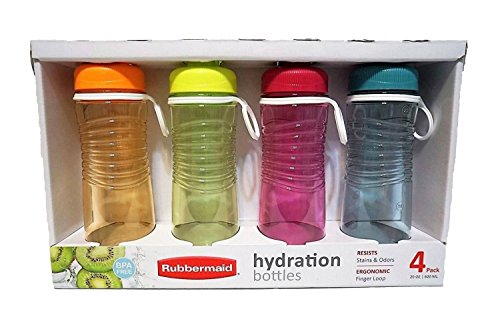 Rubbermaid Refill, Reuse 20-Ounce Hydration Chug Bottle, 4 pack ... ()