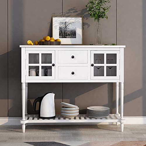 MINOCOOL Console Table Buffet Table, TV Console Table with 2 Glass Front Cabinets Bottom Shelf, Entryway Table with Storage, for Living Room Hallway, White