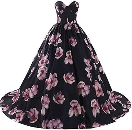 2fcd8d0112f9 Aurora Bridal Women's Floral Print 2018 Homecoming Dresses Long Formal Prom  Party Gown 559