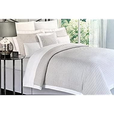 Nicole Miller Bedding 3 Piece Full / Queen Duvet Cover Set Thin Textured Beige White Stripes