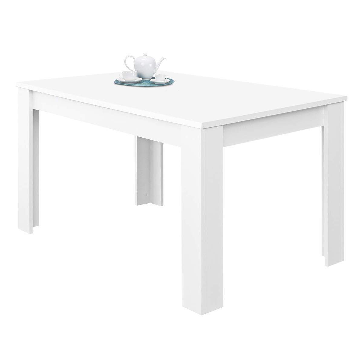 Habitdesign 004586A - Mesa de comedor extensible Kendra, de 140 a 190 cm, cerrada: 140 cm (largo) x 90 cm (ancho) x 78 cm (altura), color blanco artik