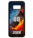 Galaxy S8 Case, ArtsyCase Thunder Water Fire Hockey Puck Personalized Name Number Phone Case for Samsung Galaxy S8 (Black)