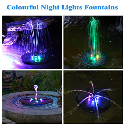 Gocheer Upgraded 3W Solar Fountain Pump with LED Lights , 7 Nozzles for Different Water Styles, Outdoor Floating Solar Powered Water Fountain Pump with Storage Battery for Bird Bath Garden Pond Pool
