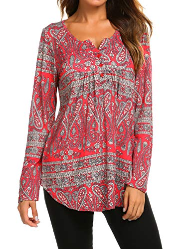 Long Shirts to Wear with Leggings, Ladies V-Neck Long Sleeve Floral Office Blouses Flared Tunic Tops Red,XL