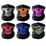 GAMPRO Universal Seamless Tube Skull Face Mask, Dust-proof Windproof Motorcycle Bicycle Bike Face Mask for Cycling, Hiking, Camping, Climbing, Fishing, Hunting, Jogging, Motorcycling (6Pcs-Color)