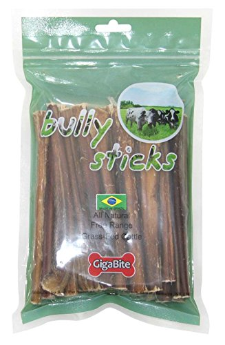 GigaBite by Best Pet Supplies - USDA & FDA Certified Low-Odor Value Pack Plain Beef Bully Sticks for Dogs - 100% All Natural Free Range Beef Pizzle- Healthy Dental Teeth Cleaning Dog Chews- Best Chewy Pet Treats (25 Pcs/Pack- 6 Inch)