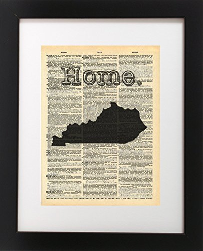 Kentucky State Vintage Map Dictionary Art Print 8x10 inch Home Vintage Art Abstract Prints Wall Art for Home Decor Wall Decorations For Living Room Bedroom Office Ready-to-Frame