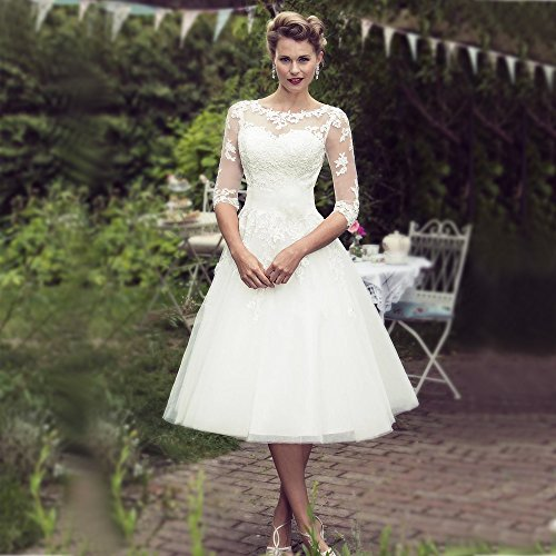 Abaowedding Long Sleeves Lace Short Tea Length Wedding