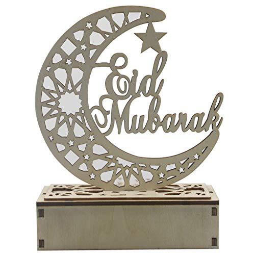Décorations de Ramadan Eid Mubarak en bois lampes de Table lampe avec lumière LED bricolage lune veilleuse Table…