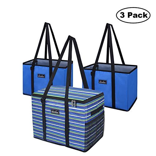 Reusable Grocery Bags, Deedee 34L Extra Large Thermal Insulated Cooler Bag Box 1 pack, Shopping Tote 2 Pack with Removable Bottom, Heavy Duty, Collapsible 3 pack