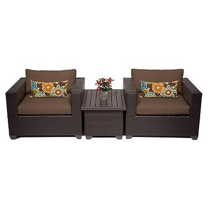 amazon com tk classics 3 piece belle outdoor wicker patio furniture set cocoa garden outdoor