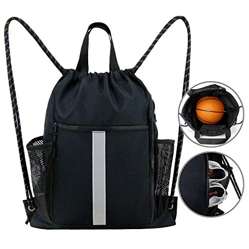 Gym-Drawstring-Backpack-Bag with Shoe Compartment and Water Bottle Holder, Large Sports Sackpack Athletic Cinch Bag Gymsack (Black)