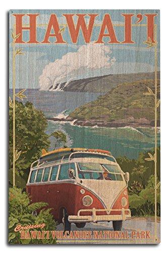 Lantern Press Hawaii Volcanoes National Park, Hawaii - Camper Van (10x15 Wood Wall Sign, Wall Decor Ready to Hang) ()