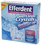 Efferdent Power Clean Crystals Anti-Bacterial Denture Cleanser Icy Mint Packets, 24 count - Buy Packs and SAVE (Pack of 5)
