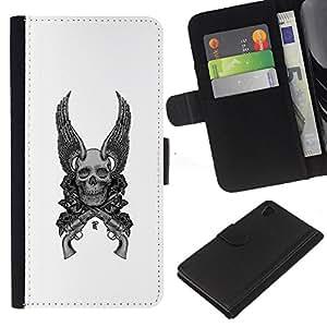 Be-Star la tarjeta de Crédito Slots PU Funda de cuero Monedero caso cubierta de piel Sony Xperia Z4v / Sony Xperia Z4 / E6508 ( Wings Guns White Black Death Skull )
