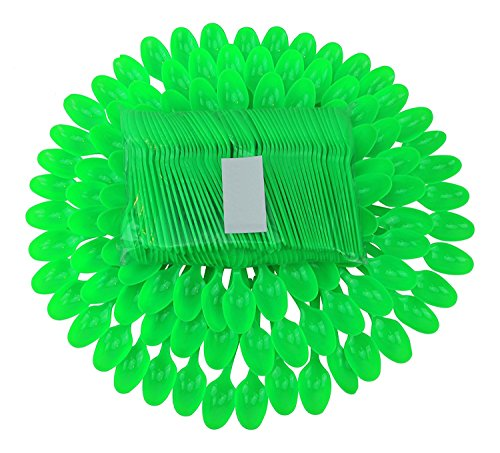 (B-Kind Party Pack 100 Count Cutlery Thick Strong and Durable Heavy Weight Disposable Bright green Spoons for Camping, Picnics, Parties & Weddings)