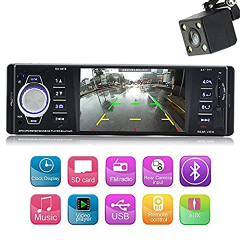 4.1 inch single din Car Mp5 player with bluetooth Car Audio Video player FM Radio Car stereo reciverer Support USB/SD Remote (Car Audio / Video Accessories)