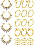 Blulu Fake Nose Ring Hoop Set Stainless Steel Nose Lip Ear Ring Piercing Jewelry Septum Ring Non-Pierced Clip On Cartilage Cuff Body Jewelry, 19 Pieces Totally, 6 Styles (Gold)