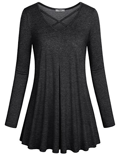 Cross Knit Criss Top (Cestyle Criss Cross Top for Women, Ladies Sexy Crisscross Mini Dress Juniors Long Sleeve Deep V Neck Knit Pullover Tunic Dressy Shirts Black XX-Large)