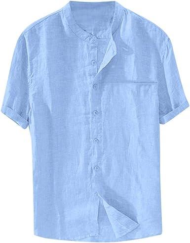 Winkey - Camiseta de Manga Corta para Hombre, Color Liso, Mezcla de algodón y Lino, Cuello Alto, Blusa, Camisa de Negocios para Hombre: Amazon.es: Ropa y accesorios