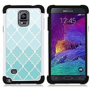 BullDog Case - FOR/Samsung Galaxy Note 4 SM-N910 N910 / - / PATTERN DESIGN WALLPAPER WHITE BLUE LIGHT /- H??brido Heavy Duty caja del tel??fono protector din??mico - silicona suave