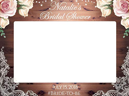 Floral Rustic Lace Bridal Shower Photo Prop - Sizes 36x24, 48x36; Personalized Rustic Bridal Shower Decorations, Bridal Shower Photoooth Prop, Wooden, rustic wedding decorations, Handmade Party Supply