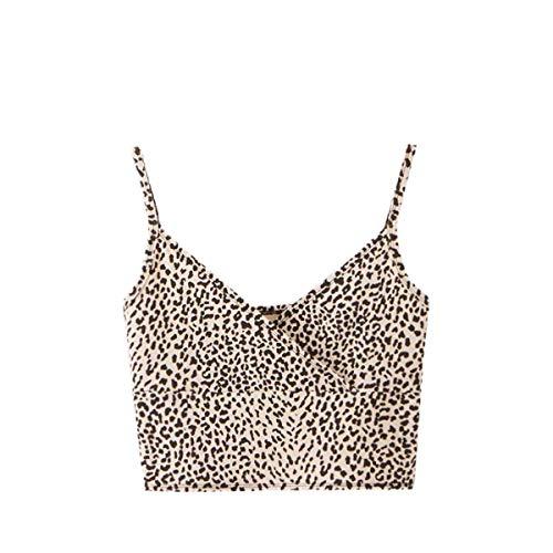 SweatyRocks Women's Casual Leopard Print Warp Surplice Front Spaghetti Strap Cami Top