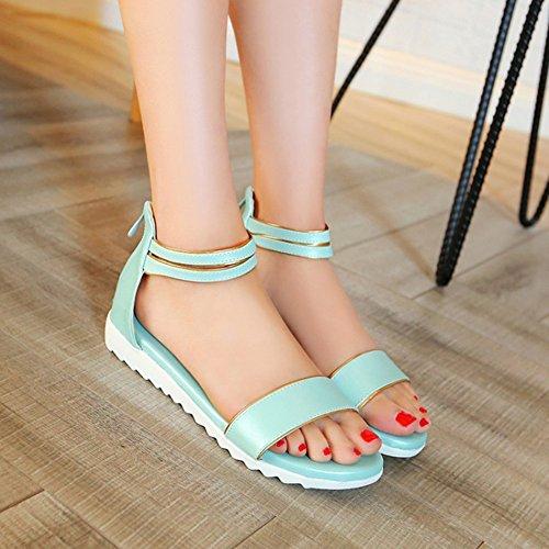 Easemax Womens Comfy Back Zipper Ankle Strap Flats Sandals Blue 4QjCtuT