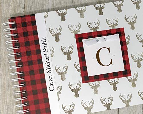 Deer Baby Memory Book - Personalized Baby Journal - Deer Antlers + Buffalo Plaid or Arrows