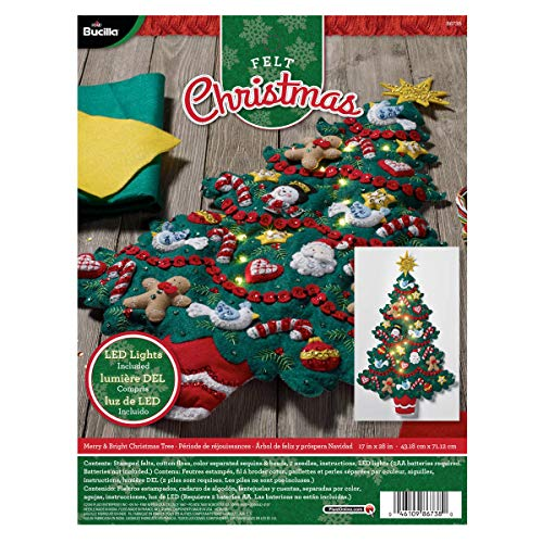 Bucilla 86738 Felt Applique Wall Hanging Kit Merry and Bright, Size 17 x 28-Inch, 17