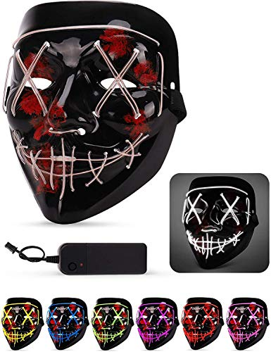 3-Modes Halloween Scary Mask Cosplay Wire Led Light Up Costume Mask Purge Movie ()