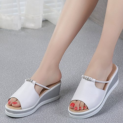 Btrada Women Summer High Platform Slides Casual Walking Wedge Sandals White 2abdRo2