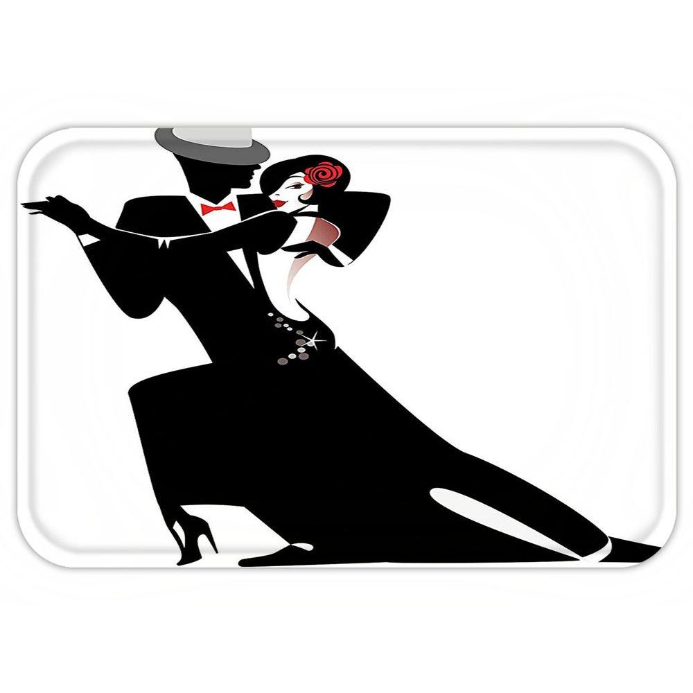 VROSELV Custom Door MatGirlDecor Man and Woman PartnerRomantic Dance Tango Waltz Loverin Rhythmic Music Art Print Black White