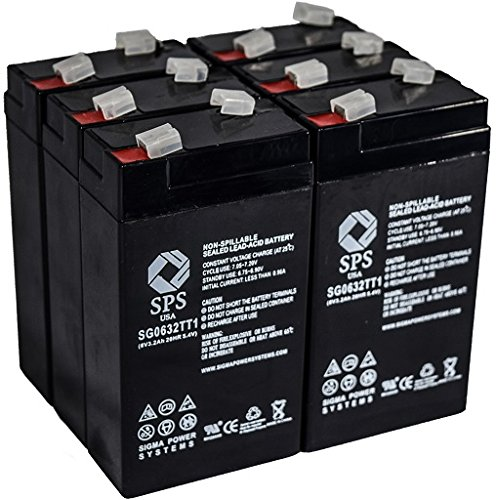 SPS Brand 6V 3.2 Ah Replacement battery for Quest Medical 521 INFUSION PUMP (6 PACK) Sigma Infusion Pump