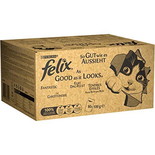 Purina Felix Le Ghiottonerie – Comida para Gatos con Ternera, Pollo, Bacalao y atún, 80 Sobres de 100 g Cada una