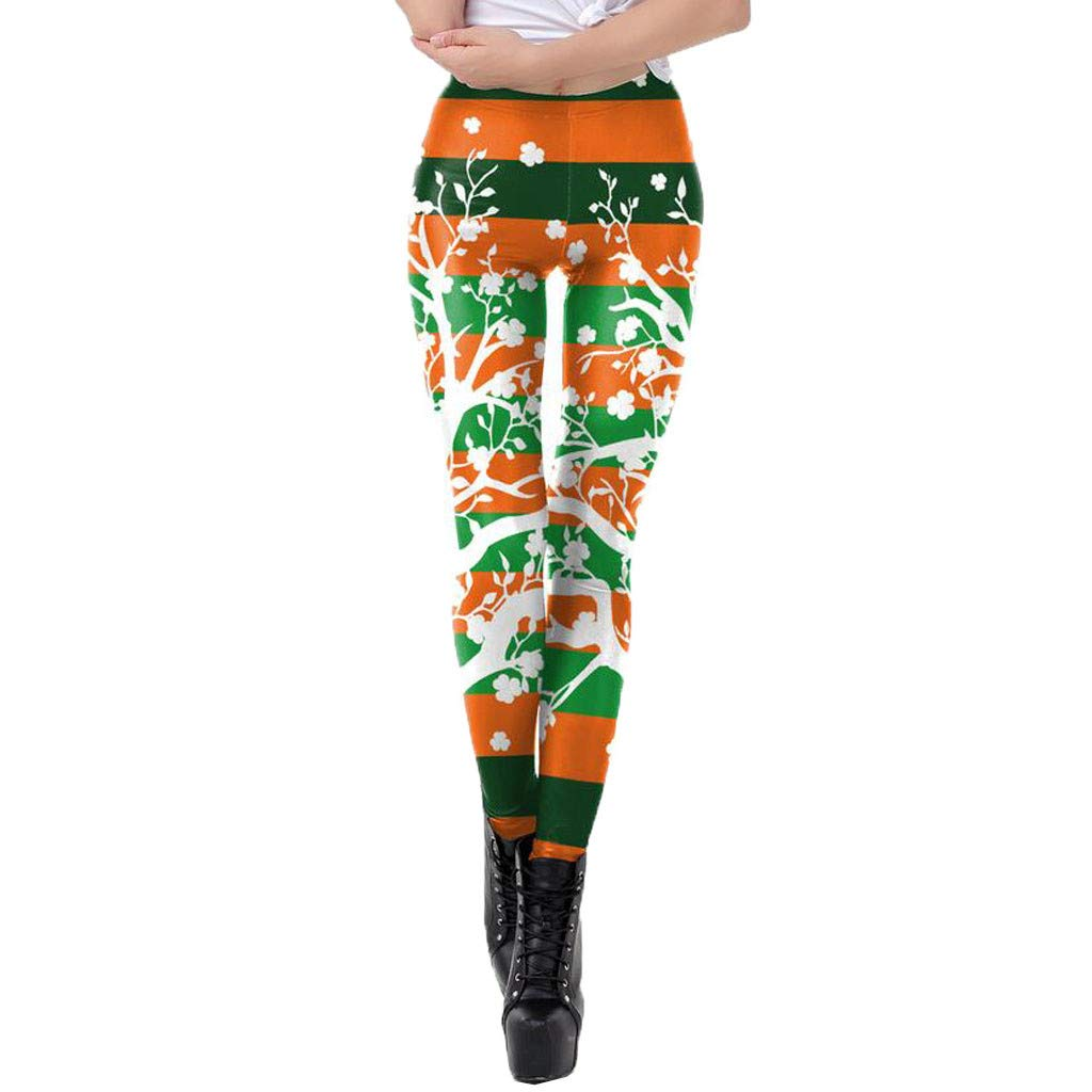 KASAAS St. Patrick's Day Pants for Women Vintage Clover Print Tighten High Waist Pencil Pant Trousers(Small,Green)